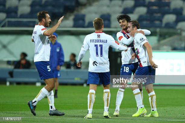 Angus Thurgate of the Jets celebrates his goal during the round 6 A-League match between Western United and the Newcastle Jets at GMHBA Stadium on...