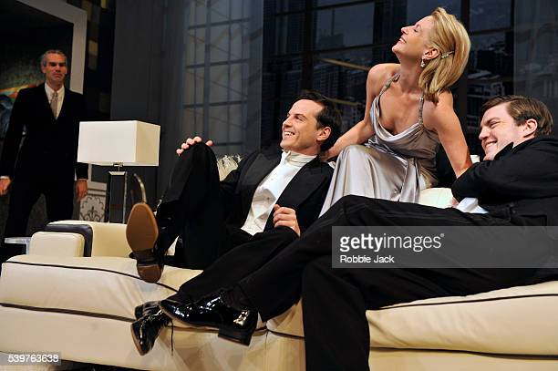 Angus Wright as Ernest Friedman Tom Burke as Otto Lisa Dillon as Gilda and Andrew Scott as Leo in Noel Coward's Design For Living directed by Anthony...
