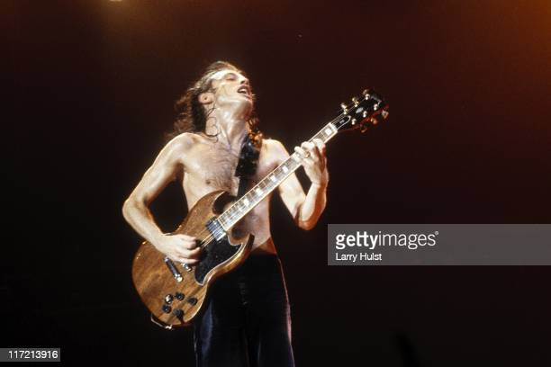 Angus Young along with 'AC/DC' performs at Cal Expo in Sacramento California on July 30 1992