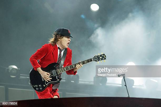 Angus Young and AC/DC perform during their 'Rock or Bust' World Tour at Etihad Stadium on December 6 2015 in Melbourne Australia