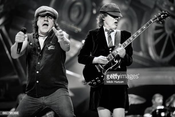 Angus Young and Brian Johnson of AC/DC Wembley London 16th November 2008