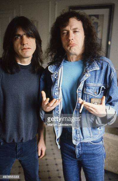 Angus Young and Malcolm Young of AC/DC portrait London United Kingdom 1995