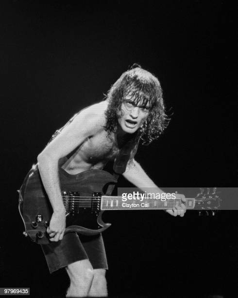 Angus Young from AC/DC performs live on stage at the Cow Palace in San Francisco on February 16 1982