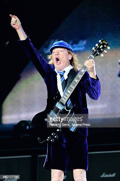 Angus Young leads the AC/DC in concert at Dino and Enzo Ferrari Racetrack on July 9 2015 in Imola Italy