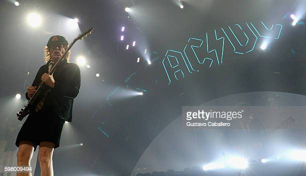 Angus Young of AC/DC perform onstage at BBT Center on August 30 2016 in Sunrise Florida