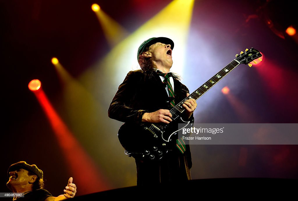 Angus Young of AC/DC Performs at Dodger Stadium at Dodger Stadium on September 28, 2015 in Los Angeles, California.