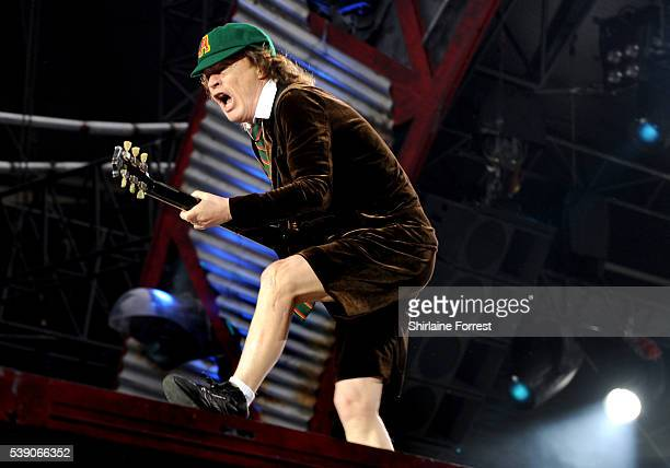 Angus Young of AC/DC performs at Etihad Stadium on June 9 2016 in Manchester England