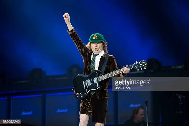 Angus Young of AC/DC performs at the at Etihad Stadium on June 9 2016 in Manchester England