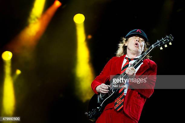 Angus Young of AC/DC performs at Wembley Stadium on July 4 2015 in London United Kingdom