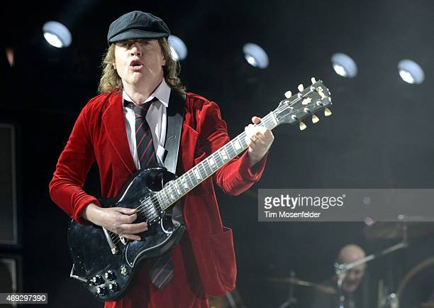 Angus Young of AC/DC performs during the 2015 Coachella Valley Musica and Arts Festival at The Empire Polo Club on April 10 2015 in Indio California