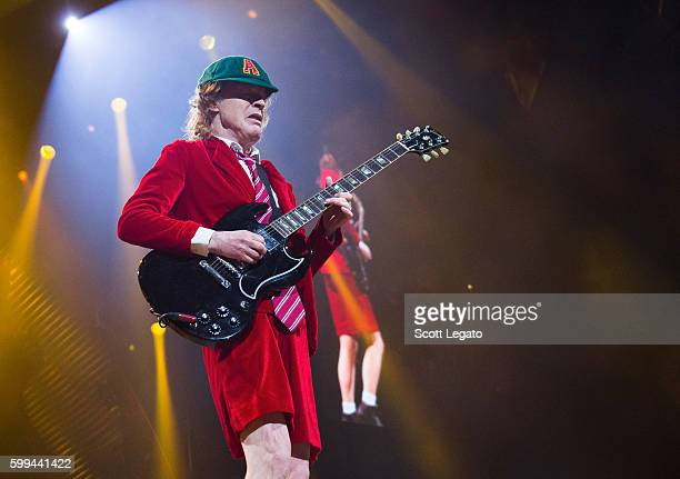 Angus Young of AC/DC performs during the Rock Or Bust Tour at Nationwide Arena on September 4 2016 in Columbus Ohio