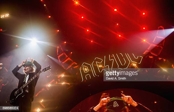 Angus Young of AC/DC performs during the Rock or Bust Tour at Philips Arena on September 1 2016 in Atlanta Georgia