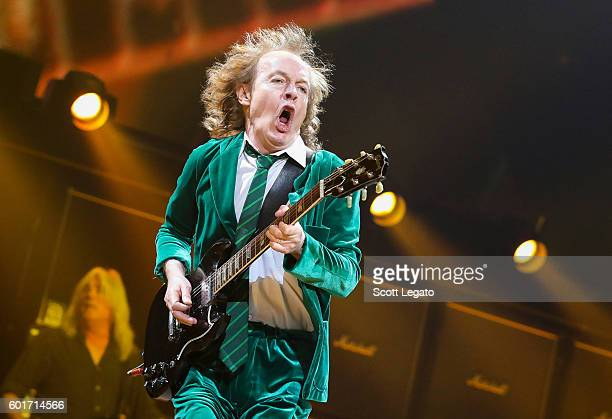 Angus Young of AC/DC performs during the Rock Or Bust Tour at The Palace of Auburn Hills on September 9 2016 in Auburn Hills Michigan