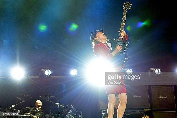 Angus Young of AC/DC performs live on stage during the 'Rock or Bust' World Tour at Wembley Stadium on July 4 2015 in London United Kingdom