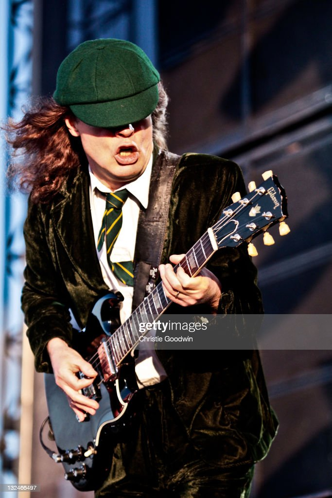 Angus Young of AC/DC performs on stage at Download Festival on June 11, 2010 in Donington, UK.