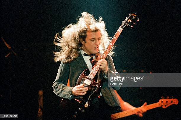 Angus Young of AC/DC performs on stage at Wembley Arena on January 17th 1986 in London United Kingdom