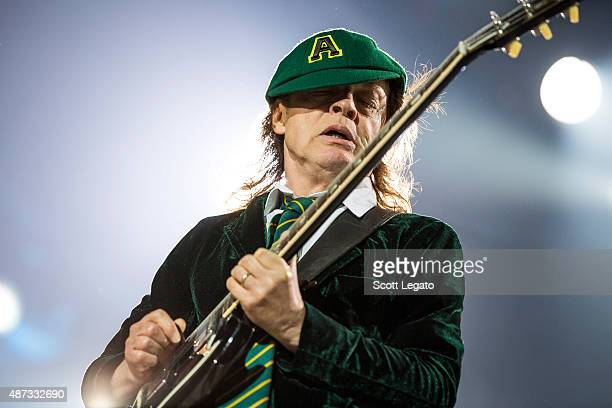 Angus Young of AC/DC performs on stage during their 'Rock or Bust' World Tour at Ford Field on September 8 2015 in Detroit Michigan