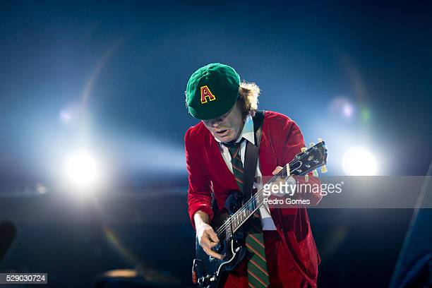 Angus Young of AC/DC performs the first concert of the Rock or Bust tour at the Passeio Maritimo De Alges with Axl Rose on May 7 2016 in Lisbon...