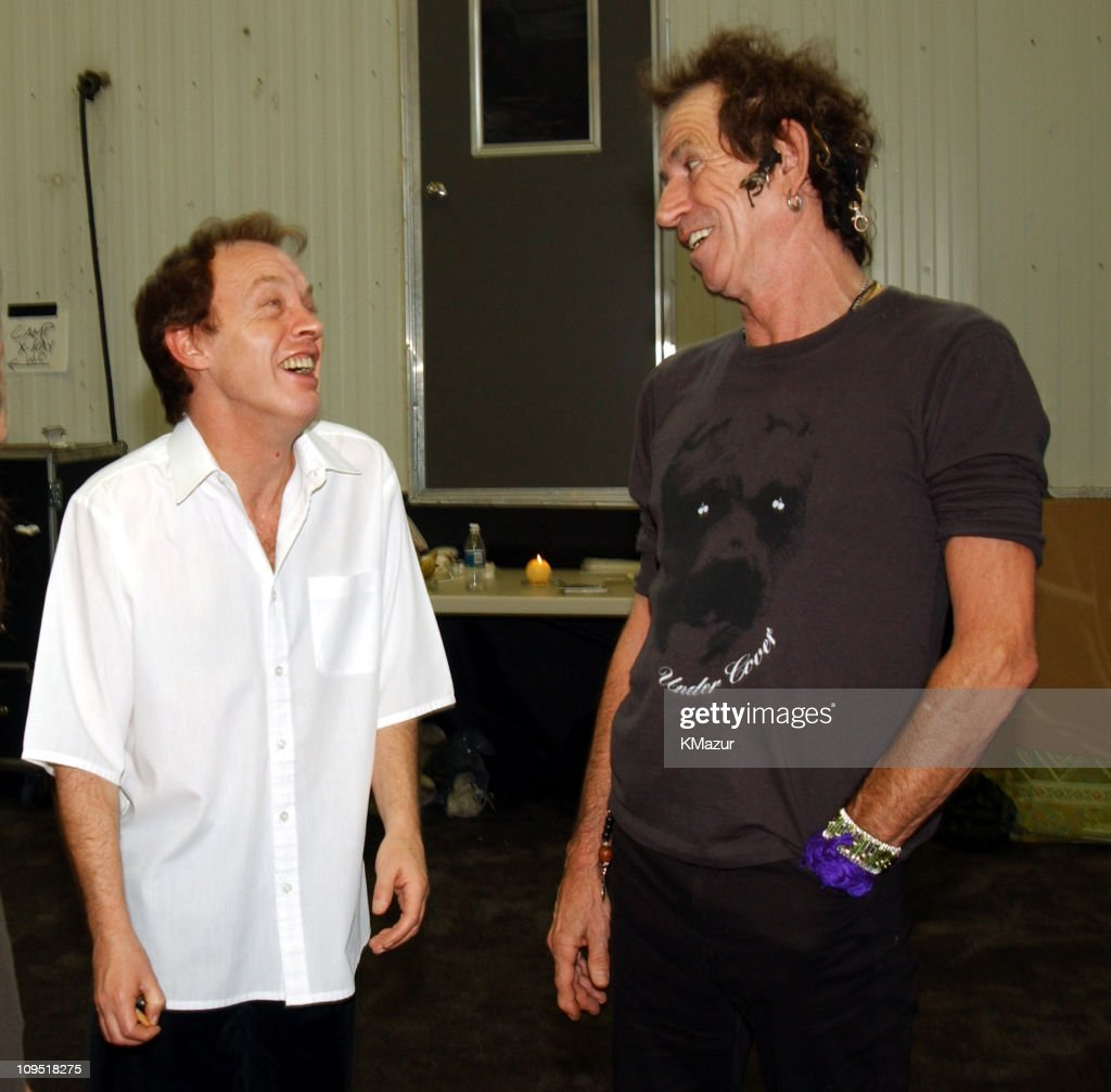 Angus Young of AC/DC with Keith Richards of The Rolling Stones