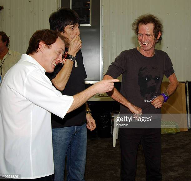 Angus Young of AC/DC with Ron Wood and Keith Richards of The Rolling Stones