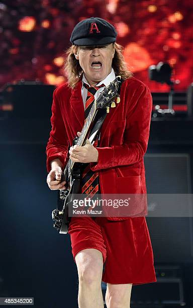 Angus Young performs onstage during their 'Rock or Bust' World Tour at MetLife Stadium on August 26 2015 in East Rutherford City