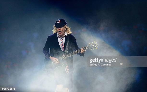 Angus Young performs with AC/DC during the Rock Or Bust Tour at the Greensboro Coliseum on August 27 2016 in Greensboro North Carolina