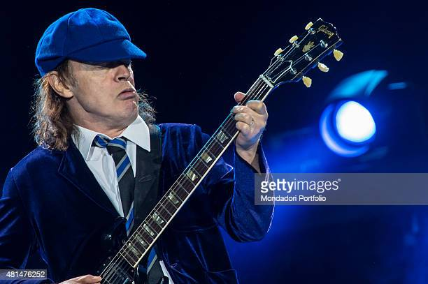 Angus Young the guitarrist of the Australian hard rock band AC/DC with his typical school uniform during the concert Autodromo Enzo e Dino Ferrari...