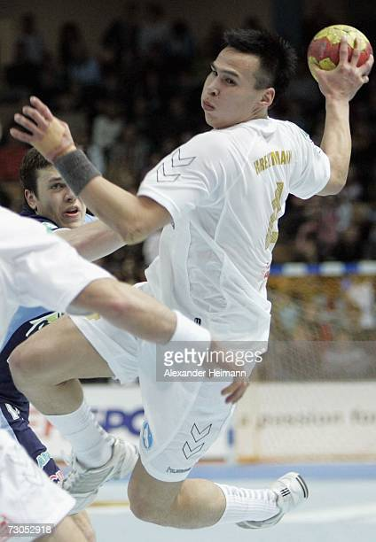 Angutimmarik Kreutzmann of Greenland in action during the Men's Handball World Championship Group A game between Slovenia and Greenland at the...