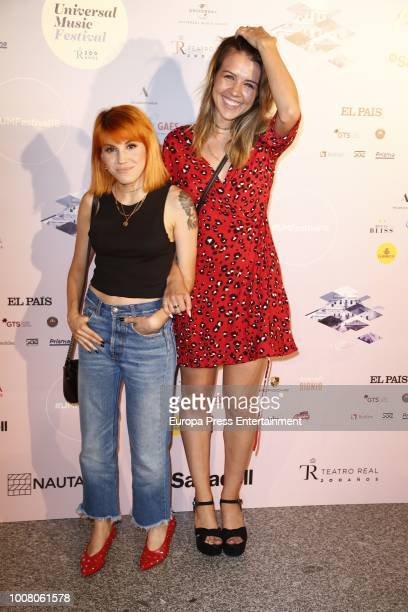 Angy Fernandez and Andrea Guasch attend the Steven Tyler concert photocall at Royal Theatre during Universal Music Festival on July 30 2018 in Madrid...