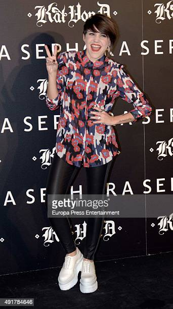 Angy Fernandez attends the launch of the 'Kat Von D Beauty' make up collection on October 7 2015 in Madrid Spain