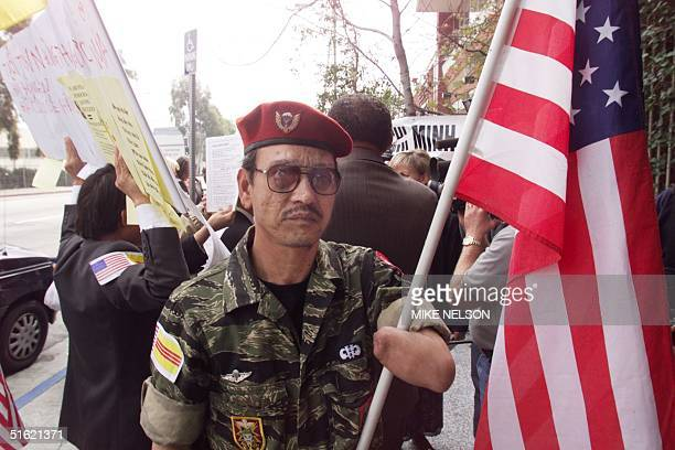 Anh Nguyen a South Vietnamese Special Forces commander who was maimed during the Vietnam War protests outside the ACLU offices in Los Angeles 19...