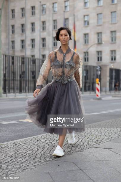 Anh Phuong Dinh Phan is seen attending Danny Reinke wearing Danny Reinke during the Berlin Fashion Week July 2018 on July 4 2018 in Berlin Germany