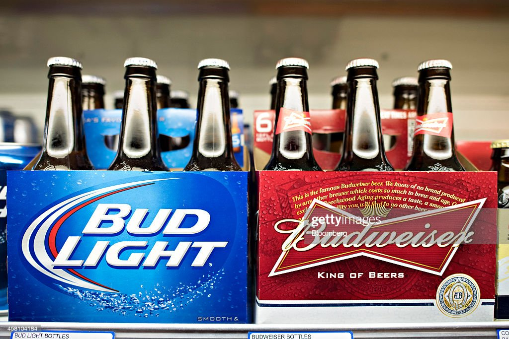 Anheuser-Busch Budweiser and Bud Light brand beer sits on