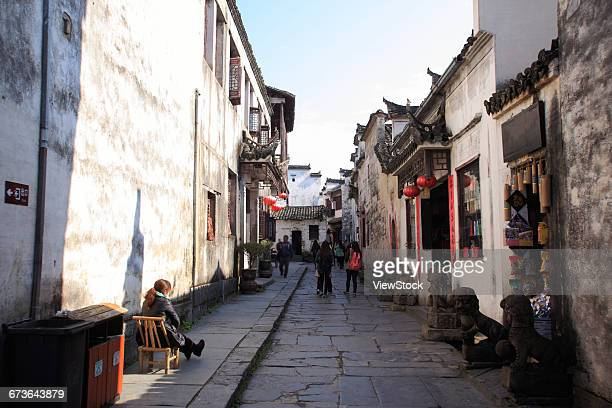anhui province hongcun huizhou architecture group - anhui province stock pictures, royalty-free photos & images