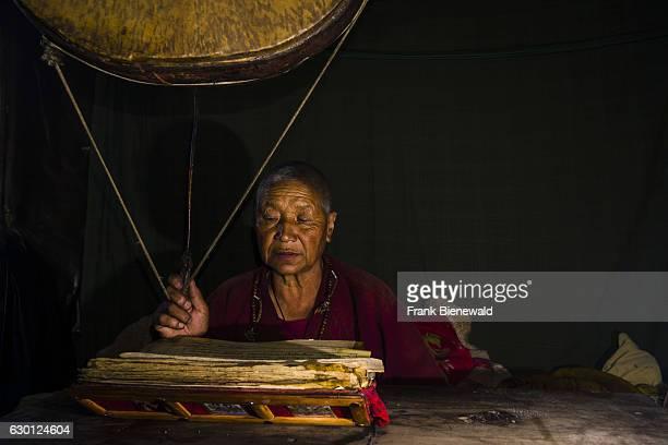 Ani Chorten daughter of Tashi Lama is celebrating a religious ceremony in Praken Gompa