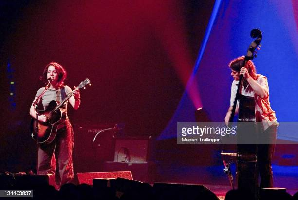 Ani DiFranco and bassist Todd Sickafoose during Ani DiFranco in Concert February 14 2005 at Arlington Theatre in Santa Barbara CA United States
