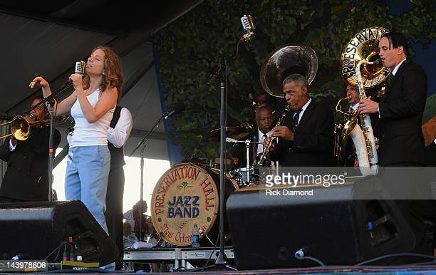 Ani DiFranco sits in with The Preservation Hall Jazz Band during there 50th Annversary performance at the 2012 New Orleans Jazz Heritage Festival Day...