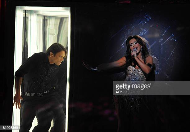 Ani Lorak of Ukraine performs during the 2008 Eurovision Song Contest second semifinal at Belgrade Arena on May 22 2008 The final will take place on...