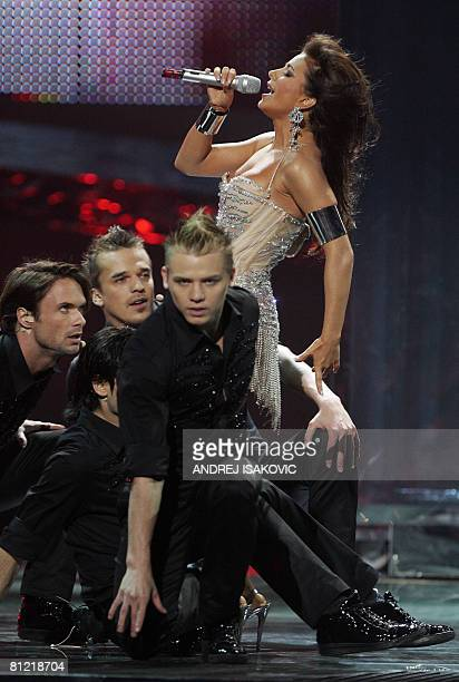 Ani Lorak of Ukraine performs during the 2008 Eurovision Song Contest final dress rehearsal at Belgrade Arena on May 23 2008 The final will take...