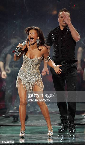 Ani Lorak of Ukraine performs during the final of the Eurovision Song Contest 2008 at Belgrade Arena on May 24 2008 Eurovision 2008 features a record...