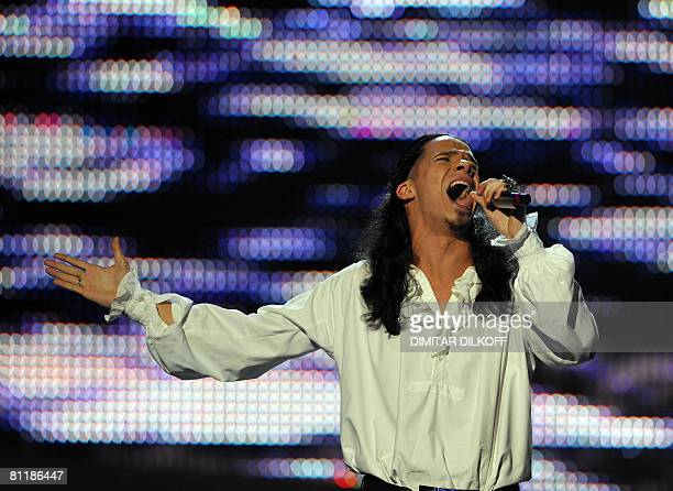 Ani Lorak of Ukraine rehearses for the Eurovision song contest semifinal at Belgrade Arena on May 21 2008 A second semifinal will be held on May 22...