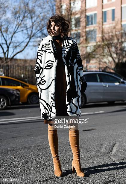 Ania Boniecka is seen outside the Tibi show wearing Dawn Levey black and white print jacket BCBG dress and Stuart Weitzman boots during New York...