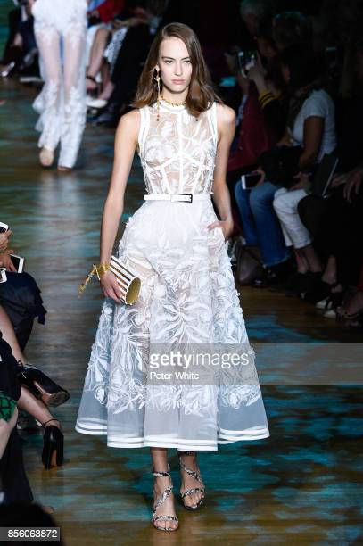 Ania Chiz walks the runway during the Elie Saab show as part of the Paris Fashion Week Womenswear Spring/Summer 2018 on September 30 2017 in Paris...