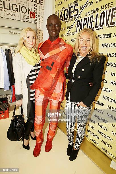 Ania Niedieck Papis Loveday and Evelyn Hammerstroem attend the Presentation of Papis Loveday Own Champagne Brand on February 2 2013 in Duesseldorf...