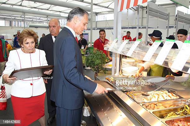 Anibal Cavaco Silva President of Portugal visit the main dining hall during a tour of the Olympic Village on Day 1 of the London 2012 Olympics Games...