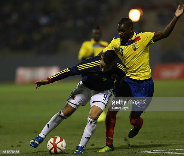 Anibal Chala of Ecuador and Cristian Arango of Colombia during a U18 match between Colombia and Ecuador as part of the XVII Bolivarian Games Trujillo...