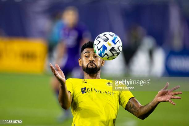 Anibal Godoy of Nashville SC controls the ball from the air during the second half against the Orlando City at Nissan Stadium on September 2, 2020 in...