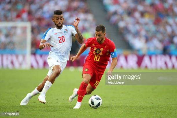 Anibal Godoy of Panama and Eden Hazard of Belgium battle for the ball during the 2018 FIFA World Cup Russia group G match between Belgium and Panama...