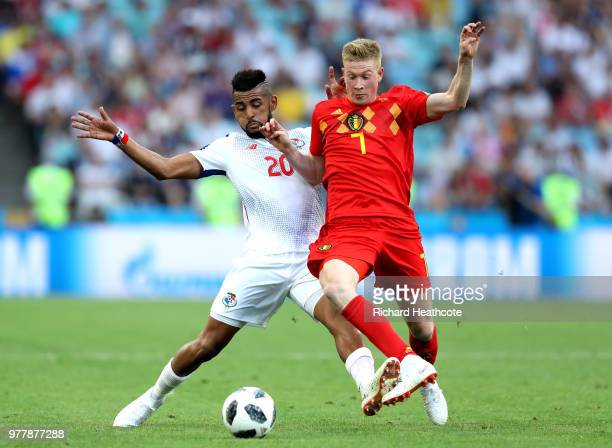 Anibal Godoy of Panama and Kevin De Bruyne of Belgium battle for the ball during the 2018 FIFA World Cup Russia group G match between Belgium and...