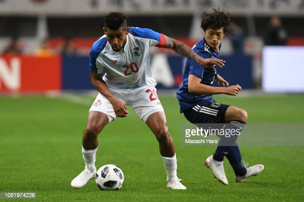 Anibal Godoy of Panama and Sei Muroya of Japan compete for the ball during the international friendly match between Japan and Panama at Denka Big...